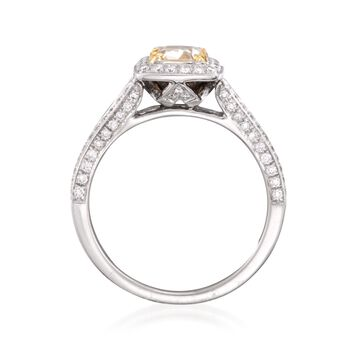 1.20 ct. t.w. Fancy Yellow and White Diamond Engagement Ring in 18kt Two-Tone Gold