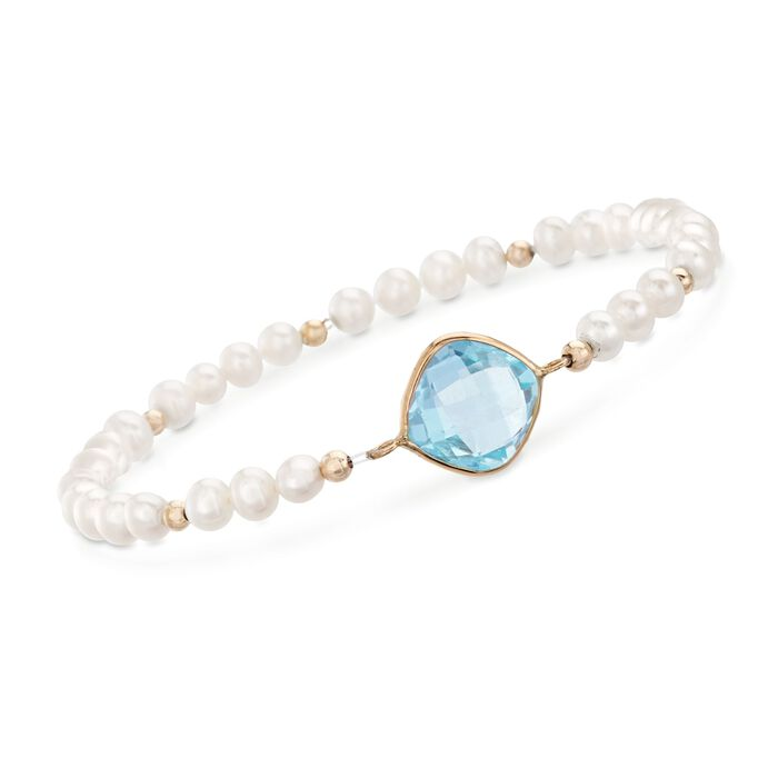 4.60 Carat Blue Topaz and 4-5mm Cultured Pearl Bracelet in 14kt Yellow Gold , , default