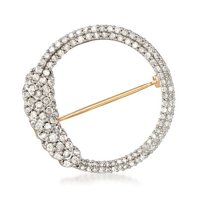 1.00 ct. t.w. Diamond Open Circle Pin in 18kt Gold Over Sterling
