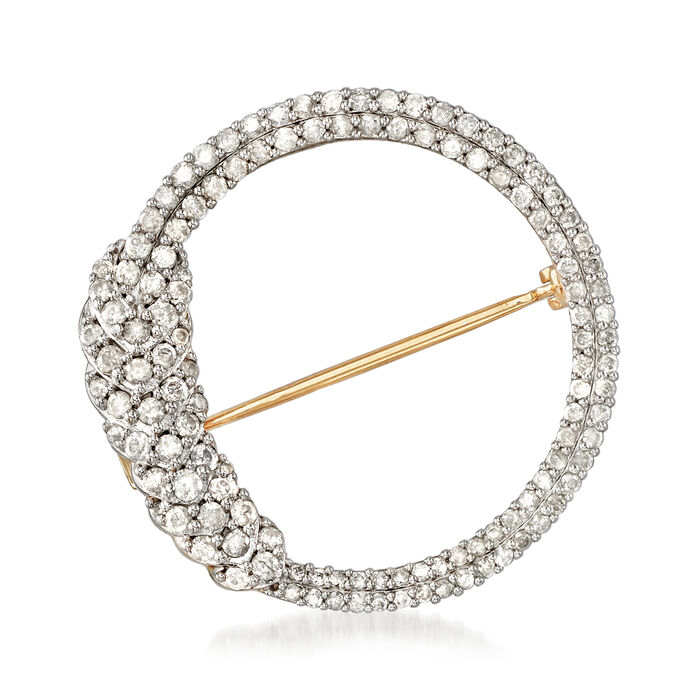 1.00 ct. t.w. Diamond Open Circle Pin in 18kt Gold Over Sterling , , default