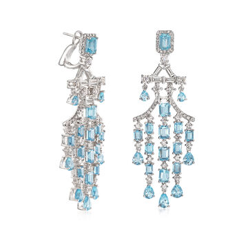 10.70 ct. t.w. Aquamarine and 3.49 ct. t.w. Diamond Chandelier Earrings in 18kt White Gold, , default