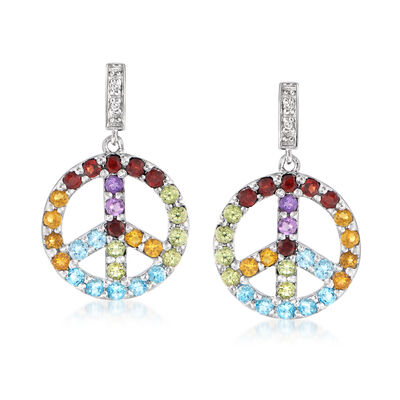 1.40 ct. t.w. Multi-Gemstone Peace Sign Drop Earrings with Diamond Accents in Sterling Silver