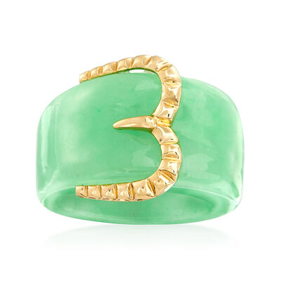 Green Jade Buckle Ring with 14kt Yellow Gold