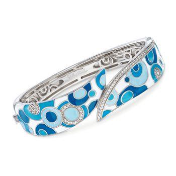 """Belle Etoile """"Groovy"""" .55 ct. t.w. CZ and Aqua Enamel Bracelet in Sterling Silver. 7"""", , default"""