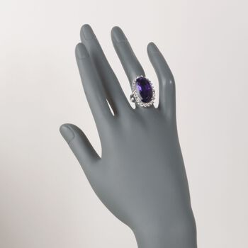 C. 1990 Vintage 12.50 Carat Amethyst and 1.30 ct. t.w. Diamond Ring in 14kt White Gold. Size 7.5, , default