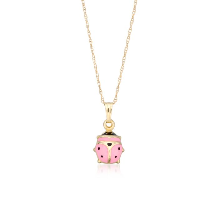 Child's Pink Enamel Ladybug Pendant Necklace in 14kt Yellow Gold. 15""