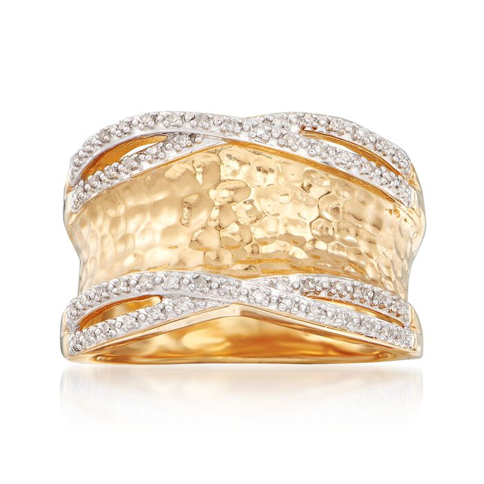 .13 ct. t.w. Diamond Hammered Ring in 18kt Yellow Gold Over Sterling Silver, , default