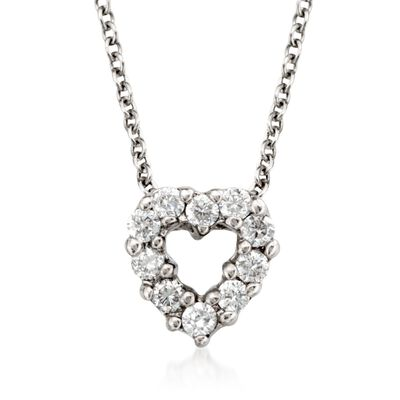 "Roberto Coin ""Tiny Treasures"" .11 ct. t.w. Diamond Heart Necklace in 18kt White Gold, , default"