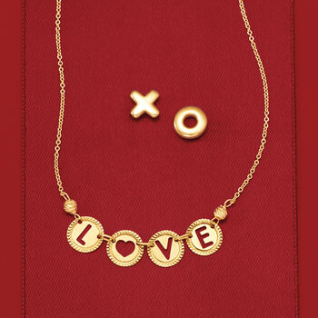 "Italian 14kt Yellow Gold ""Love"" Cutout Disc Necklace, , default"