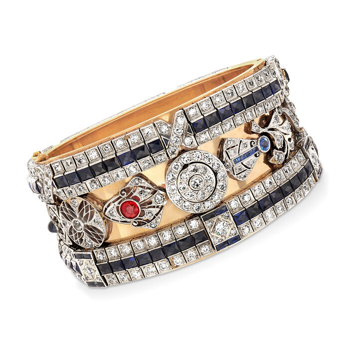 """C. 1970 Vintage 29.55 ct. t.w. Diamond, Sapphire and Ruby Bangle Bracelet in Platinum and 14kt Yellow Gold. 7"""", , default"""