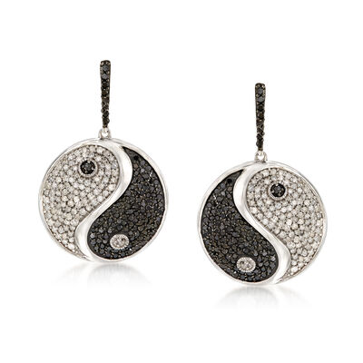 1.50 ct. t.w. Black and White Diamond Yin-Yang Drop Earrings in Sterling Silver, , default