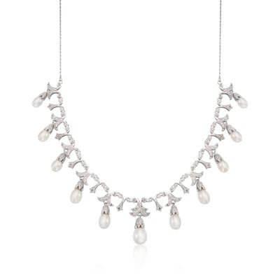 6-9mm Cultured Pearl and .20 ct. t.w. Diamond Necklace in Sterling Silver, , default