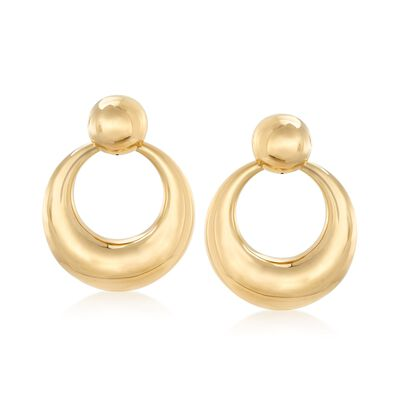 Italian 14kt Yellow Gold Puffed Doorknocker Earrings, , default