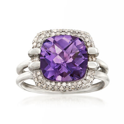 4.00 ct. t.w. Amethyst and .50 ct. t.w. White Topaz Ring in Sterling Silver, , default
