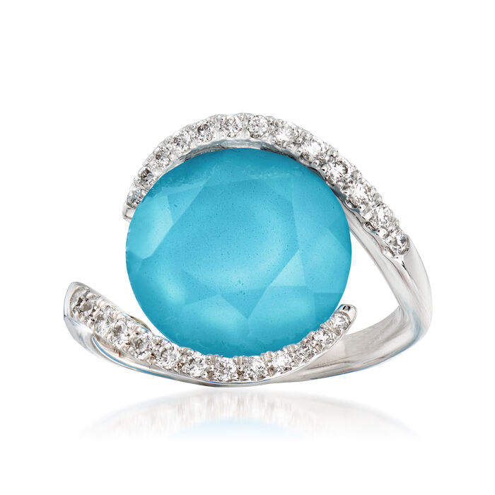 C. 1990 Vintage Piero Milano Synthetic Turquoise Doublet and .35 ct. t.w. Diamond Ring in 18kt White Gold. Size 7, , default