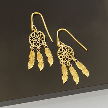Italian 14kt Yellow Gold Dreamcatcher Drop Earrings