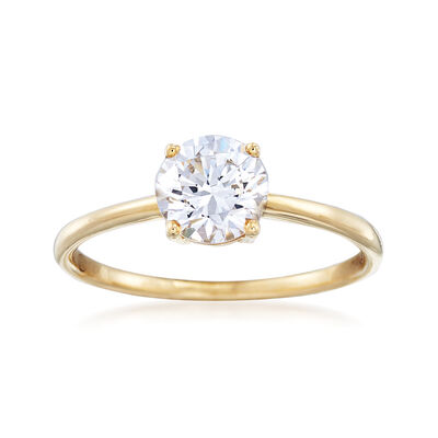 1.00 Carat CZ Solitaire Ring in 14kt Yellow Gold