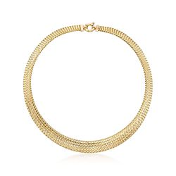 Italian 18kt Yellow Gold Woven Mesh Omega Necklace, , default