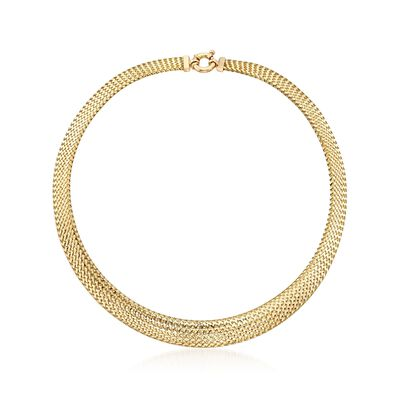 Italian 18kt Yellow Gold Graduated Mesh Omega Necklace, , default