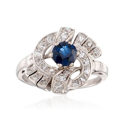 C. 1980 Vintage .70 Carat Sapphire and .35 ct. t.w. Diamond Swirl Ring in 14kt White Gold, , default