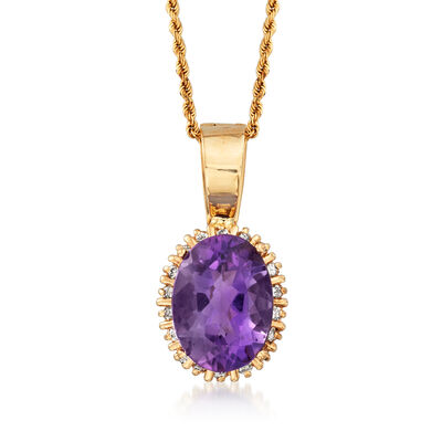 C. 1970 Vintage 8.50 Carat Amethyst and .45 ct. t.w. Diamond Pin/Pendant in 14kt Yellow Gold