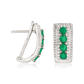 1.80 ct. t.w. Emerald and 1.00 ct. t.w. Diamond Earrings in 18kt White Gold, , default