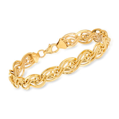Italian 14kt Yellow Gold Interlocking Link Bracelet, , default