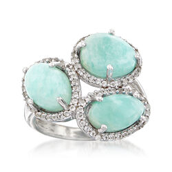 Amazonite and .40 ct. t.w. White Topaz Ring in Sterling Silver, , default