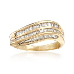 C. 1980 Vintage 1.00 ct. t.w. Channel-Set Diamond Curve Ring in 14kt Yellow Gold. Size 7, , default