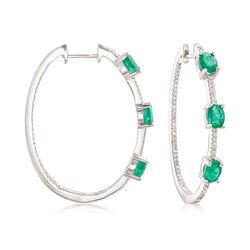 2.10 ct. t.w. Emerald and .37 ct. t.w. Diamond Inside-Outside Hoop Earrings in 14kt White Gold , , default