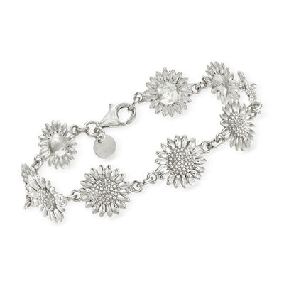 Italian Sterling Silver Sunflower Bracelet