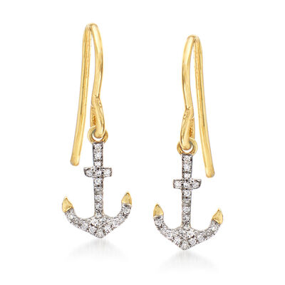 14kt Yellow Gold Anchor Drop Earrings with Diamond Accents