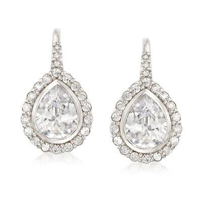 3.58 ct. t.w. CZ Drop Earrings in Sterling Silver , , default