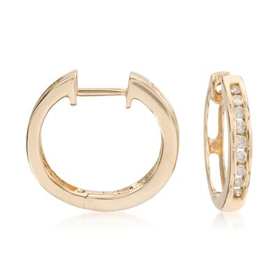 .25 ct. t.w. Diamond Hoop Earrings in 14kt Yellow Gold, , default