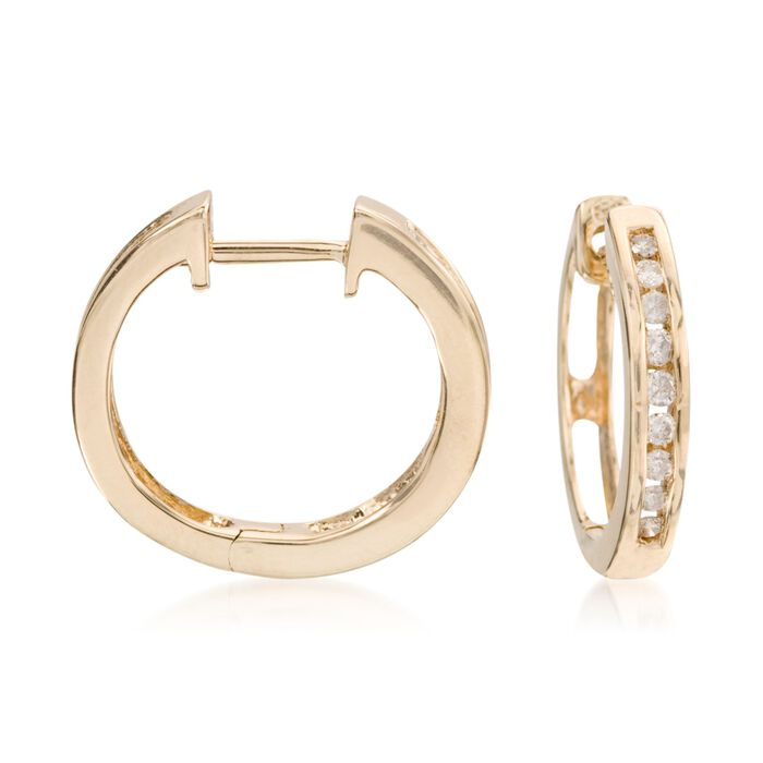 ".25 ct. t.w. Diamond Hoop Earrings in 14kt Yellow Gold. 1/2"", , default"