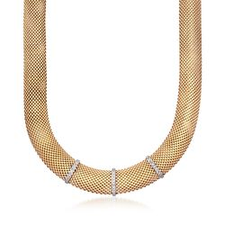 Italian .15 ct. t.w. Diamond Bar Mesh Necklace in 18kt Gold Over Sterling, , default