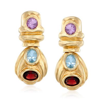 C. 1980 Vintage 6.50 ct. t.w. Multi-Gemstone Drop Earrings in 14kt Yellow Gold, , default