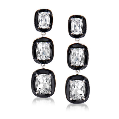 10.90 ct. t.w. White Topaz and Black Enamel Drop Earrings in Sterling Silver