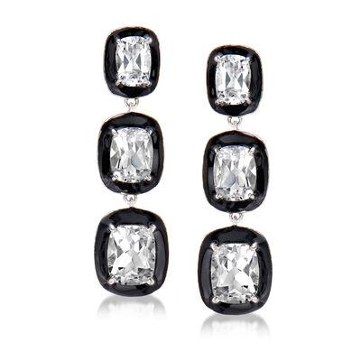 10.90 ct. t.w. White Topaz and Black Enamel Drop Earrings in Sterling Silver