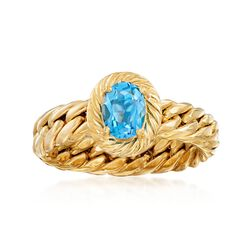 .70 Carat Blue Topaz Curb-Link Shank Ring in 18kt Yellow Gold, , default