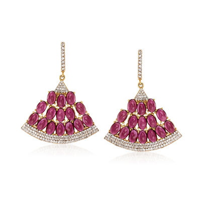 18.00 ct. t.w. Rhodolite Garnet and 1.30 ct. t.w. White Zircon Fan Earrings in 18kt Gold Over Sterling, , default