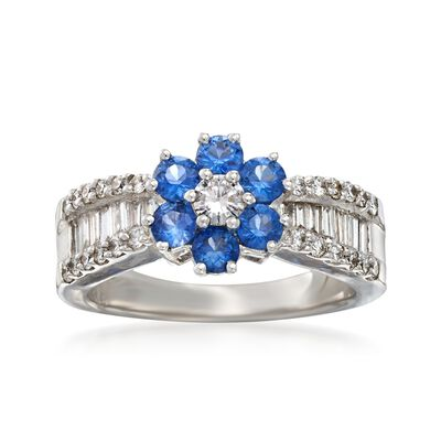 C. 2000 Vintage .95 ct. t.w. Diamond and .90 ct. t.w. Sapphire Flower Ring in 18kt White Gold, , default