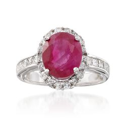4.05 Carat Ruby and 1.20 ct. t.w. Diamond Ring in 14kt White Gold. Size 6.5, , default