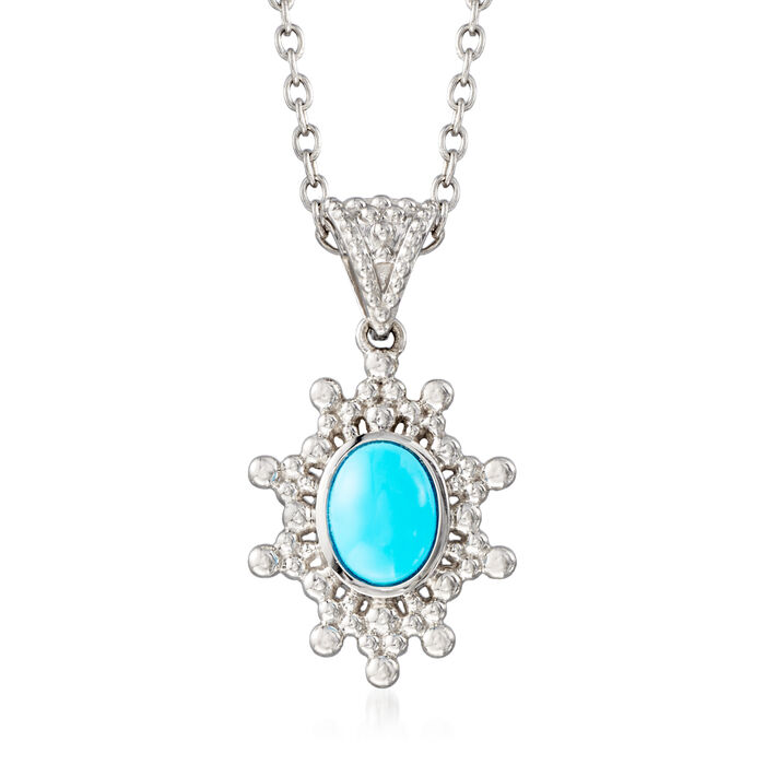 """Turquoise Sun Pendant Necklace in Sterling Silver. 18"""""""