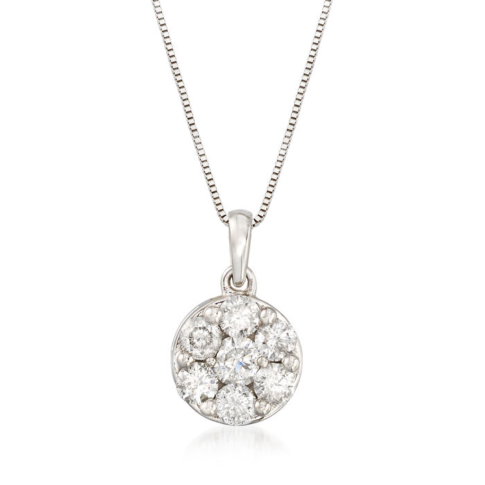"""1.00 ct. t.w. Diamond Flower Cluster Pendant Necklace in 14kt White Gold. 18"""", , default"""
