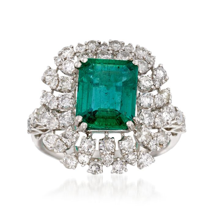 2.75 Carat Emerald and 1.78 ct. t.w. Diamond Ring in 18kt White Gold, , default