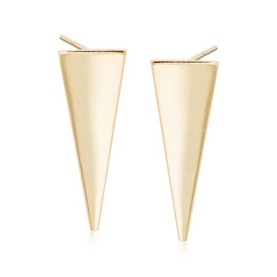14kt Yellow Gold Triangle Drop Earrings, , default