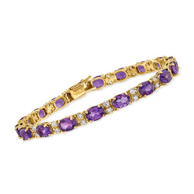 C. 1980 Vintage 12.50 ct. t.w. Amethyst and 1.50 ct. t.w. Diamond Line Bracelet in 14kt Yellow Gold