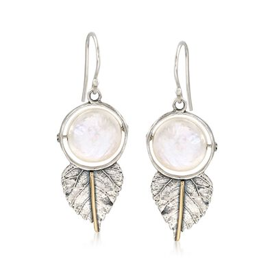 12mm Cultured Coin Pearl Leaf Drop Earrings in Sterling Silver and 14kt Gold, , default