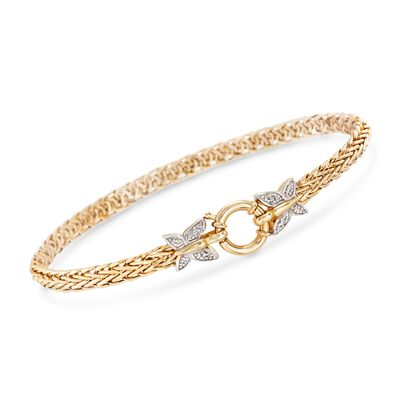 14kt Yellow Gold Butterfly Wheat Link Bracelet With Diamond Accents, , default